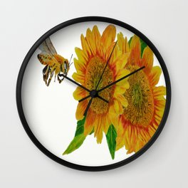 Summer Bee Yellow Sunflower Painting Wall Clock