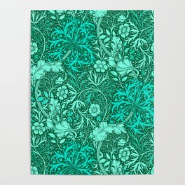 Art Nouveau Seaweed Floral, Turquoise and Aqua Poster