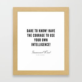 23   |  Immanuel Kant Quotes | 190810 Framed Art Print