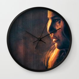 Fireside Woman In Profile - Natalie Portman Wall Clock