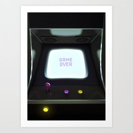 Game Over! Vintage Video Arcade Game Art Print