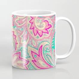 Pink Turquoise Girly Chic Floral Paisley Pattern Coffee Mug