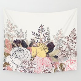 Miles and miles of rose garden. Retro floral pattern in vintag style Wall Tapestry