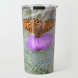 Scottish thistle with pearl bordered fritillary butterfly Travel Mug
