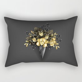 Waffle Cone with Black Golden Orchids Rectangular Pillow