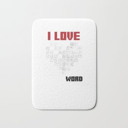 I Love Crossword Puzzle Puzzlers Geek Numbered Squares Thinking Gift Bath Mat