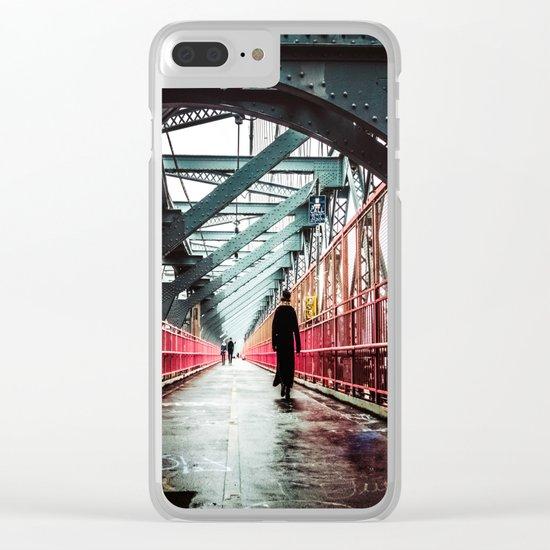 New York City Williamsburg Bridge in the Rain Clear iPhone Case