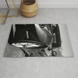 Super Car // Front Wheel Base Low Rims Dark Charcol Gray Black and White Rug