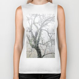 Naked tree surrounded by fog Biker Tank