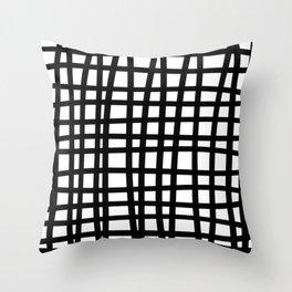 Black and white doodle stripes Throw Pillow