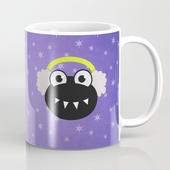 Purple Cute Cartoon Bug With Earflaps In Winter Mug