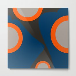 Abstract Shapes Blue and Orange on Black Art Metal Print