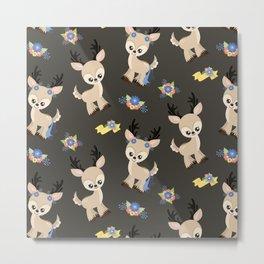 Floral Deer Neck Gator Cute Deer Gray Metal Print