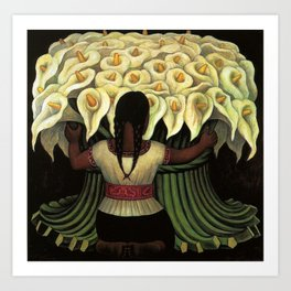 1941 Classical Masterpiece Calla lily 'Flower Seller' by Diego Rivera Art Print