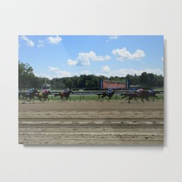 Stride to the Finish Metal Print