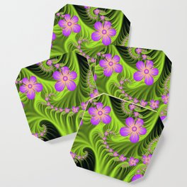 Fractal Cheerful Flowers, Pink With Green Coaster