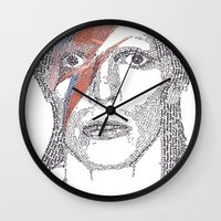bowie Wall Clocks featuring Bowie by S. L. Fina