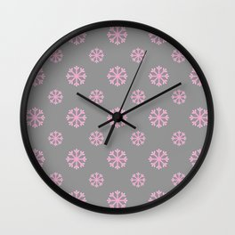 Snowflakes on gray Wall Clock