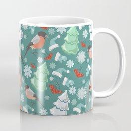 Winter birds blue pattern Coffee Mug
