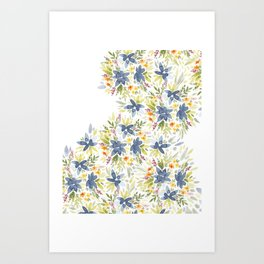 Blue Watercolor Florals Art Print
