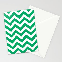 GO green - green color - Zigzag Chevron Pattern Stationery Cards