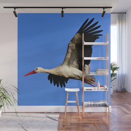 Flying Stork Wall Mural