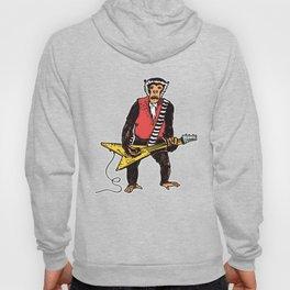 Guitarist Monkey Rocker Funny Animal Monkey Drawing Guitar Player Hoody