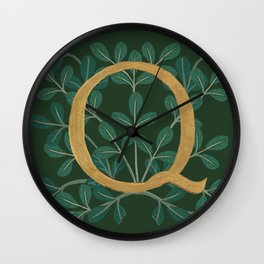 Forest Leaves Letter Q 2018 Wall Clock