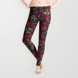 Shamrock Floral Layered Pattern / Purple Leggings