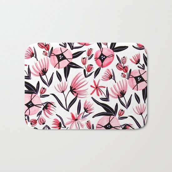 Black and Peach Flowers - Watercolor Pattern Bath Mat