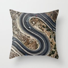 Aerial: Curved Road Throw Pillow