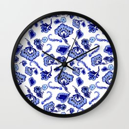 Dutch Blue Delftware Floral Inspired Pattern Wall Clock