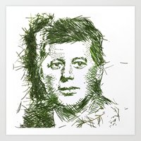 jfk Art Prints featuring JFK by Jessie Maxwell Bearden
