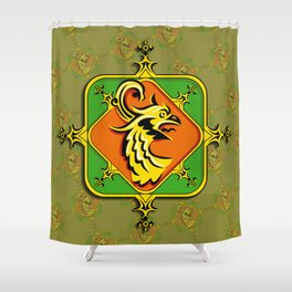 Golden Griffin Shower Curtain