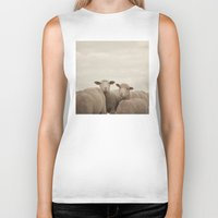 sheep Biker Tanks featuring Smiling Sheep  by Laura Ruth