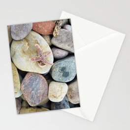 Rocks, starfish on beach Stationery Cards