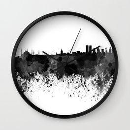 Istanbul skyline in black watercolor Wall Clock