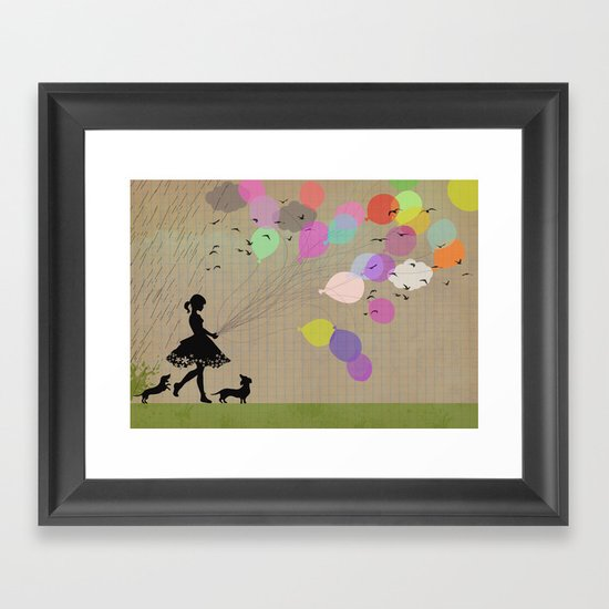 girl with balloons Framed Art Print