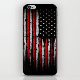 Red & white Grunge American flag iPhone Skin