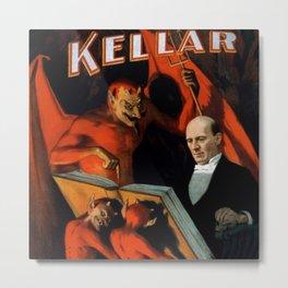 1894 Magician Harry Kellar and his servants, vintage magician poster advertisement Metal Print