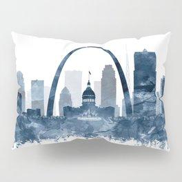 St Louis Skyline Watercolor Navy Blue by Zouzounio Art Pillow Sham