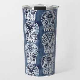 AZTEC MUERTOS Watercolor Indigo Skulls Travel Mug