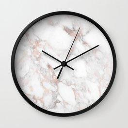 Rose Gold Marble Blush Pink Metallic Foil Wall Clock