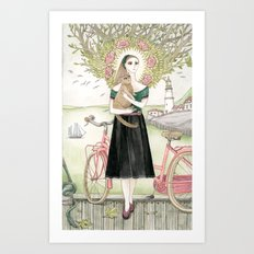 Girl and cat with pink bicycle Art Print