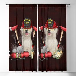 Funny cute firefighter dog Blackout Curtain
