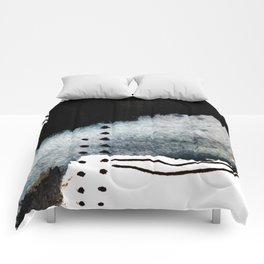 Closer - a black, blue, and white abstract piece Comforters