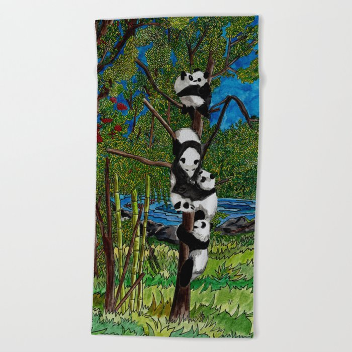 Six Baby Pandas in a Tree Beach Towel