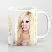 versace Mugs featuring Donatella Versace by Denda Reloaded