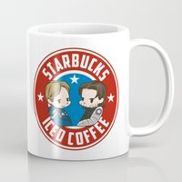 bucky barnes Mugs featuring Starbucks - Steve Rogers and Bucky Barnes Iced Coffee  by BlacksSideshow