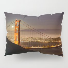 GOLDEN GATE BRIDGE & MOON PHOTO - SAN FRANCISCO NIGHT IMAGE - CALIFORNIA PICTURE - CITY PHOTOGRAPHY Pillow Sham